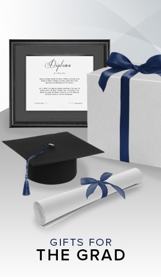 A picture of a diploma and gift box. Click to shop gifts for the grad.