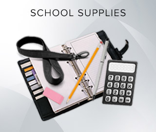 Picture of a planner, eraser, pen, pencil, lanyard, and calculator. Click to shop School Supplies.